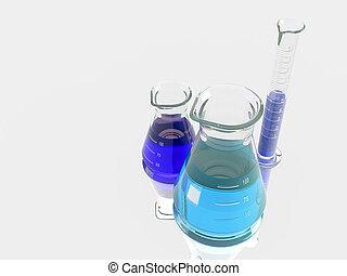 Grupo, de, laboratório, frascos,