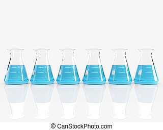group of laboratory flasks with colored liquid inside