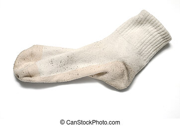 dirty sock on a white background