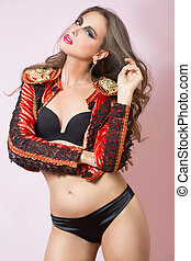 sexy woman in a red jacket and black lingerie.