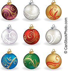 Set of nine, different color, vector christmas balls