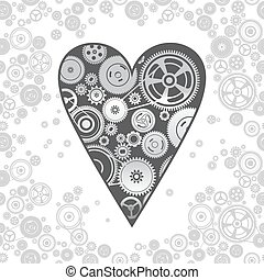 gearwheel heart-shaped mechanism background, vector...