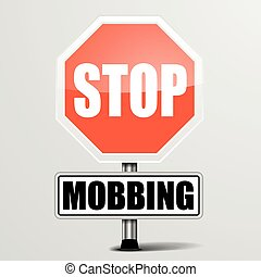 Stop Mobbing - detailed illustration of a red stop Mobbing...