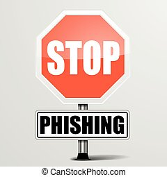 Roadsign Stop Phishing - detailed illustration of a red stop...