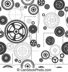 seamless gearwheel mechanism background, vector illustration