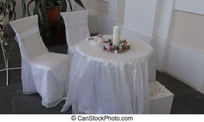 wedding table with two chair beautiful decoration in old...