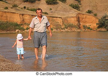 Grandfather with granddaughter goes as to water on beach