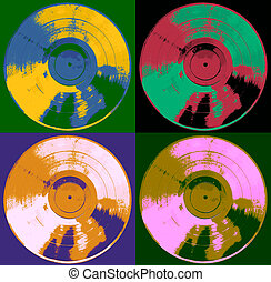 Pop Art Record Albums Colorful 1 - Vintage Vinyl Pop Art...