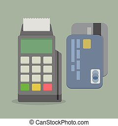POS Terminal - minimalistic illustration of a POS terminal,...