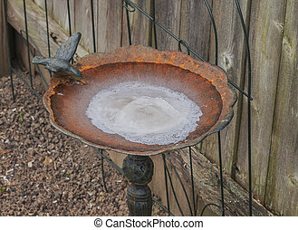 Frozen Bird Bath - View of old rusty cast iron bird bath...