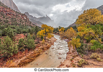 Watchman Zion NP in Fall - the virgin river leads to the...