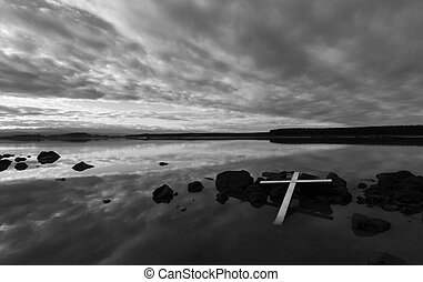 White Cross Rocks. - White cross that have been lay down on...