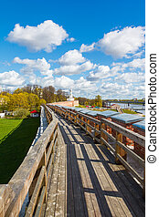 wall of Novgorod Kremlin, Russia - fence, tower and wall of...