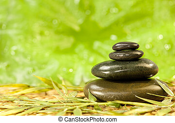 Spa Massage Hot Stones in Green Environment