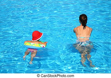 Mum and the daughter float in pool
