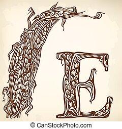 Ears brown litera E - Sheaf, ears and the letter E....