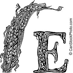 Ears litera E - Sheaf, ears and the letter E. drawings.
