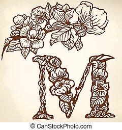 magnolia - Twig of magnolia flowers and leaves. Litera M.
