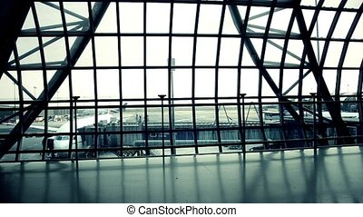 silhouettes of travellers in airport - silhouette of airline...