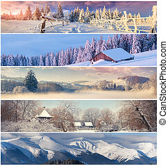Winter collage with 5 different Christmas landscape for...