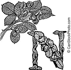 Thread hazelnut Litera N - Thread hazelnut, nuts and leaves....