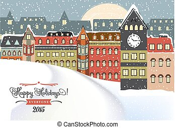 Winter Cityscape, Christmas Illustration