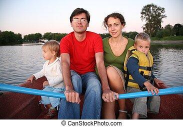 family in the boat in the lake