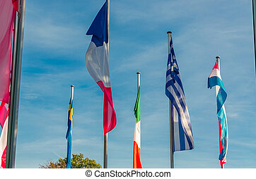 International Flags sea - A group of international flags of...
