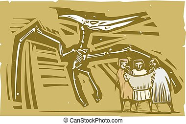Paleontologists Pterodactyl Fossil - Woodcut style image of...