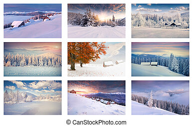 Winter collage with 9 different Christmas landscapes...