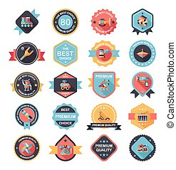 Toy badge banner design flat background set, eps10
