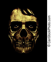 Dark Halloween Mask Portrait - Scary collage digital art...