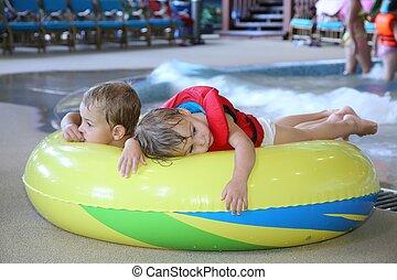children in aquapark