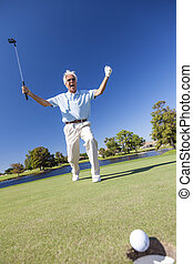 Senior Male Man Golfer Celebrating Successful Put - Senior...