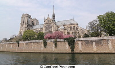 Notre Dame Cathedral and the Seine. - Notre Dame Cathedral...