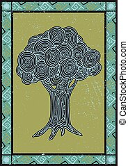 Abstract multicolored stylized tree. Vector illustration