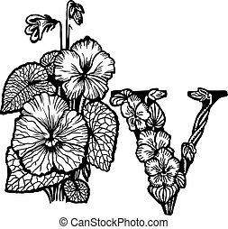 Violet bouquet litera V - Bouquet of violets, flowers and...