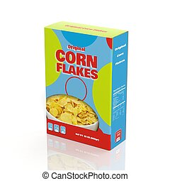 3D Corn Flakes paper package isolated on white