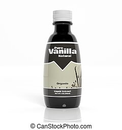 3D Vanilla extract bottle isolated on white