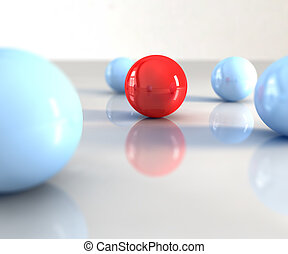 Red ball - A red ball with other blue around