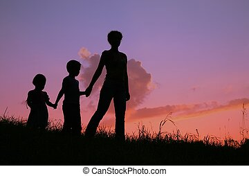 mother and children silhouette
