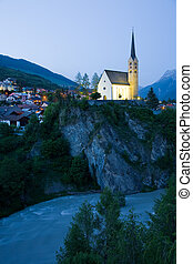 Church Scuol - The late Gothic church of Scuol in Engadine,...