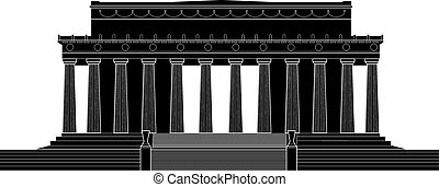 Lincoln Memorial - Silhouette illustration of the Lincoln...