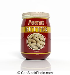 3D Peanut Butter glass jar can isolated on white