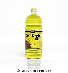 3D Sunflower Oil bottle isolated on white