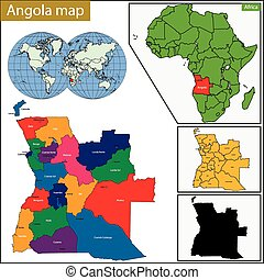 Angola map with high detail and accuracy and it is divided...