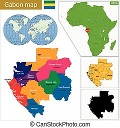 Gabon map with high detail and accuracy and it is divided...