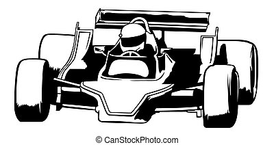 Racing Car - Black Outline Illustration, Vector