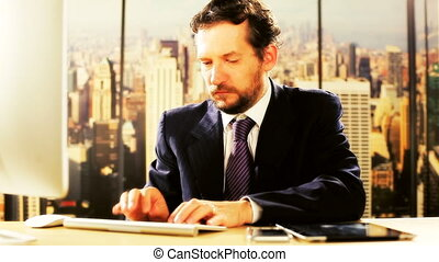 Business man at work in New York - Handsome man working in...
