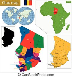 Chad map with high detail and accuracy and it is divided...